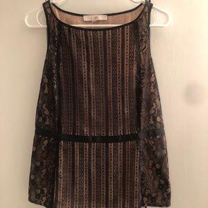 LOFT lace sleeveless peplum blouse size 8